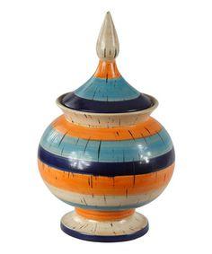 Look at this #zulilyfind! Orange Stripe Jar #zulilyfinds