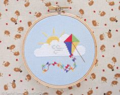 This is a Rainbow Kite Counted Cross Stitch PATTERN only - no fabric or floss is included in this pu Cross Stitch Tree, Mini Cross Stitch, Counted Cross Stitch Patterns, Bicycle String Art, Pastel Balloons, Stitch Crochet, Pdf Patterns, Cross Stitching, Just In Case