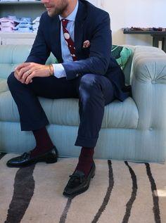 "patrickjohnsontailors: ""PCJ Sydney Suit : Naples blue (old banger) PJ Roma Shirt : DJA Poplin stripe Tie : Alexander Olch polka dot Pocket sqaure : PJ Ettore print Shoe : George Cleverley "" Look Formal, Men Formal, Dark Blue Suit, Suit Shoes, Light Blue Shirts, Sheer Socks, Pose, Suit And Tie, Gentleman Style"
