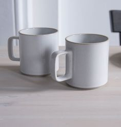Stackable mugs, made in Japan from a unique mixture of porcelain and clay.