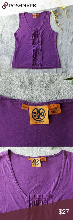Tory Burch purple ruffle tank top blouse A gorgeous purple tank top from Tory Burch. A light sewn ruffle of fabric down the front. No stains, holes, or piling. Tory Burch Tops Tank Tops