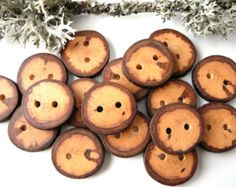 Unique Wooden buttons set of 8, natural rustic wood buttons, plum tree button, branch buttons, craft supplies, accessories #7