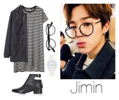 """Jimin Selca w/ Glasses"" by btsoutfits ❤ liked on Polyvore featuring Jason Wu, MHL by Margaret Howell, Topshop and Nixon"