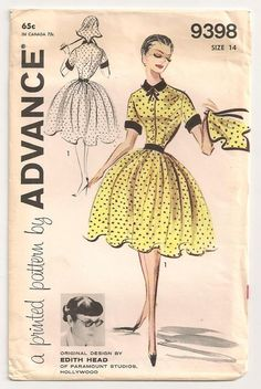 1950s EDITH HEAD Designer Sewing Pattern - Advance - Full Skirt Day Dress and Kerchief - 34 Bust