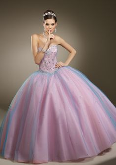 Long strapless pastel blue & pink iridescent evening dress with tulle skirt from Vizcaya By Mori Lee (Style: 87082).