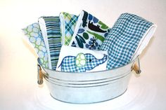 Blue and Green Baby Boy Gift Set with Minky Blanket, Diaper Burp Cloths, and Onesie