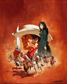 """Frank McCarthy, """"Fearless One,"""" no other info. Action Movie Poster, Western Comics, Art Students League, West Art, Sci Fi Horror, Cowboy Art, Le Far West, Pulp Art, Old West"""