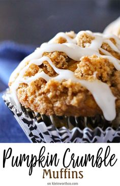 Pumpkin Crumble Muffins are the perfect breakfast recipe for a fall morning. Loaded with delicious pumpkin & topped with buttery crumbles, they are divine!  via @KleinworthCo