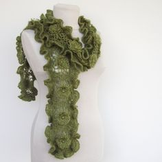 Crochet Scarf in Green - Green Scarf - Ruffled Scarf