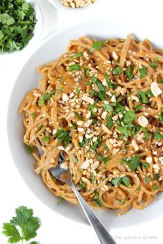 EASY & only 20 minutes! Satisfying, protein-packed, and a perfect quick meal or take-along lunch. (Vegan, gluten-free option) Informations About Easy Asian Peanut Noodles Minute! Easy Vegan Dinner, Vegan Dinner Recipes, Vegan Dinners, Asian Recipes, Healthy Dinner Recipes, Healthy Dinners, Vegetarian Recipes, Sin Gluten, Gluten Free