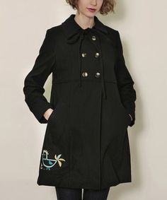 Take a look at this Black Piopio Coat Bow Wool-Blend Coat by Titis Clothing on #zulily today!