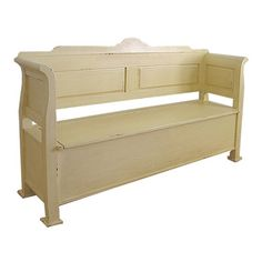 I have seen ones with a nicer design at the top or perhaps it was padded and had a scrolled back with tufting.....HOWEVER, having a bench with storage would be practical as I NEED storage space  and this can be moved if i ever need to for remodeling purposes and cleaning.......also, wood can be painted in many colors...or have different finishes on it.