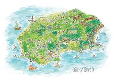 Art Print, A4 Gower Map Illustration, Quirky, South Wales, Map, Giclee, High Quality, Cymru