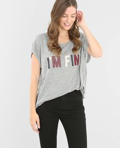 T-shirt wording brodé gris chiné
