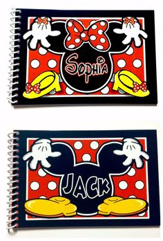 2 Personalized Disney Autograph Books - Mickey Mouse and Minnie Mouse Books - Mr and Mrs - keepsake - Disney Albums - Custom Books - New