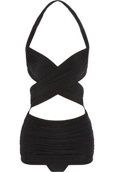 XO Bill Mio ruched cross-front swimsuit