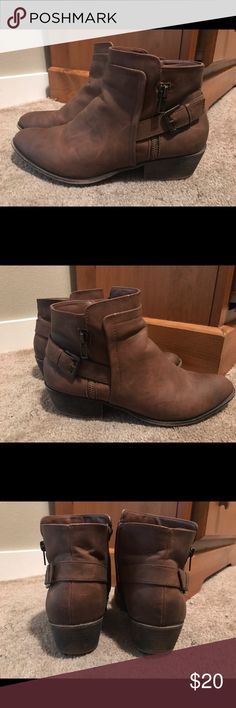 Madden girl booties Super adorable and comfortable madden girl boots! Unfortunately there is a small scuff on the toe of one, I'm sure it could be fixed somehow! I've only worn those 2x so aside from the mark these are a great steal! Steve Madden Shoes Ankle Boots & Booties