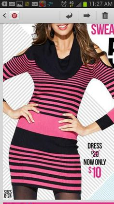 Pink and black striped dress