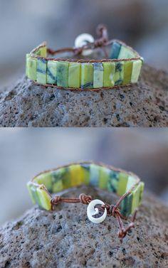 Natural Serpentine Green Stone & Brown Leather Brocelet Unisex Wrap Bracelet