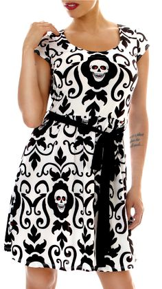 Folter Endangered Damask Skull Dress with Keyhole Back - Modern Grease Clothing and Accessories Co.