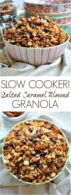 The easiest way to make granola! This Slow Cooker Salted Caramel Almond Granola is salty, sweet, vegan, dairy-free, gluten-free, and SO delicious! It's an ideal clean eating breakfast, snack, or dessert! #ad