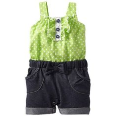 Baby girl clothes#39% discount#Little Lass Baby-Girls Newborn 1 Piece Romper with Polka Dots, Lime, 6/9 Months