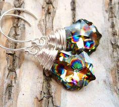 Peacock Earrings Swarovski Crystal Baroque Wire by JBMDesigns