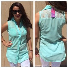 "LISTING Mint Sheer Lace Top Comes in multiple colors. 27"" long. Buttons up in the front. Also has 2 Pockets in front. SM PTP is 17""-M PTP is 18""- LG PTP is 20""-XL PTP is 20""-2XL PTP is 21"". 100% poly. Pair with some white shorts or capris. True Rock Tops"