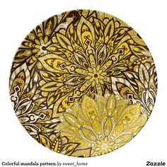 Colorful mandala pattern plate  #Home #decor #Room #Interior #decorating #Idea #Styles #Traditional #Boho #Indian #Vintage #floral #motif