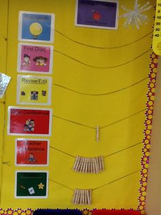 The second grade teacher use this chart to keep track of the status of the class during Writers' Workshop.