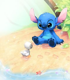Stitch and the ugly duckling - adorable Disney fan art ! <3