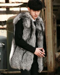 This men's real fur coat is constructed of Golden Red Fox fur, and Black Mink fur. Styled at its two materials of fur, both blended with each skillfully. Men's Coats And Jackets, Fur Jackets, Mens Fur, Silver Man, Good Looking Men, Fox Fur, Fur Collars, Mens Fashion, My Style