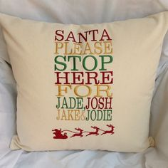 Personalised Christmas, Santa Please Stop Here Cushion Cover £10.99