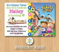 Etsy $10.00 Tickety Toc Tommy & Tallulah Birthday Invite by ButterscotchDesign
