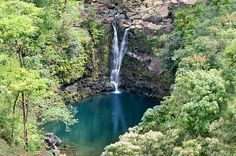 Upper Puohokamona Falls as seen from the Garden of Eden Botanical Arboretum on the Road to Hana - Maui, Hawaii