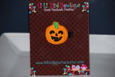 Felt Embroidered Halloween Pumpkin Hair Clip-Perfect for Everyday or Halloween/Favor