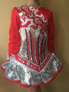 Spectacular Red Gavin Doherty Irish Dance Dress Solo Costume For Sale