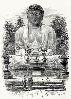 Colossal image of Buddha. Edward Whymper, from Rambles in Japan: the Land of the rising sun, by Henry Baker Tristram, New york, 1895.