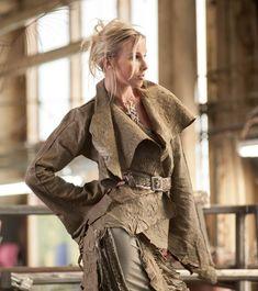 Rebecca Bruce Designs Natural edge leather jacket with belt. rebeccabruce.com