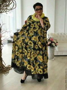 Купить или заказать Платье 'Подсолнух' в интернет-магазине на Ярмарке Мастеров. Платье *Подсолнух* двухслойное. Состав ткани: шифон, подклад тонкий трикотаж, оборка шифон. Размер 54-66. Цена 6500 руб.