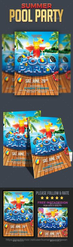 Summer Party Flyer Template, Summer parties and Flyers
