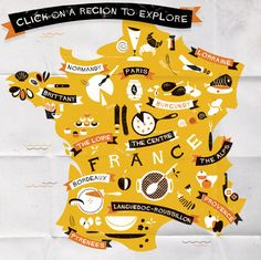 Great map of France. Prefer this creative piece to the more detailed ones!