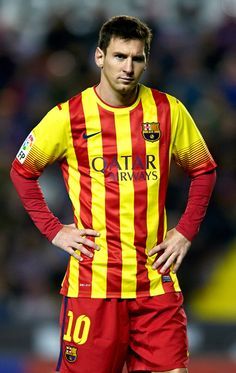 Lionel Messi of Barcelona looks on during the la Liga match between Levante UD and FC Barcelona at Ciutat de Valencia on January 19, 2014 in Valencia, Spain.