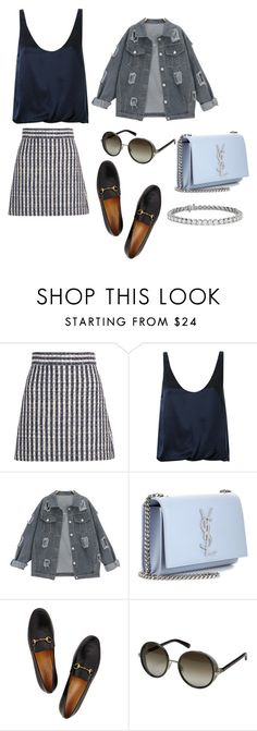 """""""Denim with stripes"""" by kkmahony ❤ liked on Polyvore featuring Miu Miu, 3.1 Phillip Lim, Yves Saint Laurent, Gucci, Jimmy Choo and Blue Nile"""