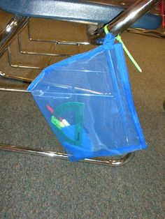 What a great idea!!!  Ziptie pencil pouches to students desk for supplies!