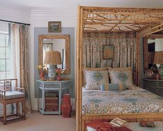 Aqua and tan bedroom with India inspired fabrics - designer: Mary McDonald With terra cotta accents Tan Bedroom, Bedroom Wardrobe, Dream Bedroom, Master Bedroom, Bedroom Eyes, Bedroom Colors, Beautiful Bedrooms, Beautiful Interiors, There's Something About Mary