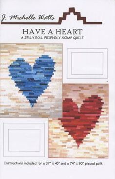 Have a Heart quilt pattern by J. Two sizes. A jelly roll race variation Strip quilt Great for beginners! scrap quilt from PeacockQuilting on Etsy Studio Heart Quilt Pattern, Jelly Roll Quilt Patterns, Quilt Block Patterns, Heart Patterns, Quilt Blocks, Pattern Blocks, Scrap Quilt, Jellyroll Quilts, Quilt In A Day