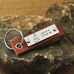 New hampshire key chain  latitude Longitude keychain Coordinate key chain state keychain leather map key chain state charm