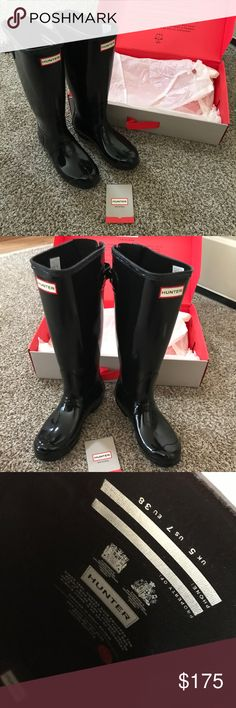 Hunter Boots + Hunter Socks + Boot Cleaner 🖤 Hunter Boots Original Adjustable Tall- Gloss. These are brand new, only walked around my front room in them. Comes with Tall Wool New Hunter Boots Socks and New Hunter Boots - Boot Shine( Total 160.00 boots, 45.00 socks, 10.00 boot shine) $215 for original Price break down. Hunter Shoes Winter & Rain Boots