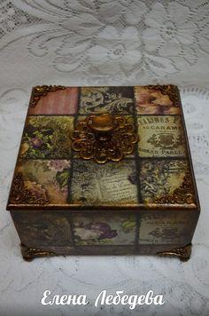 Decoupage Furniture, Decoupage Box, Painted Furniture, Painted Boxes, Wooden Boxes, Altered Boxes, Altered Art, Cigar Box Crafts, Girls Jewelry Box